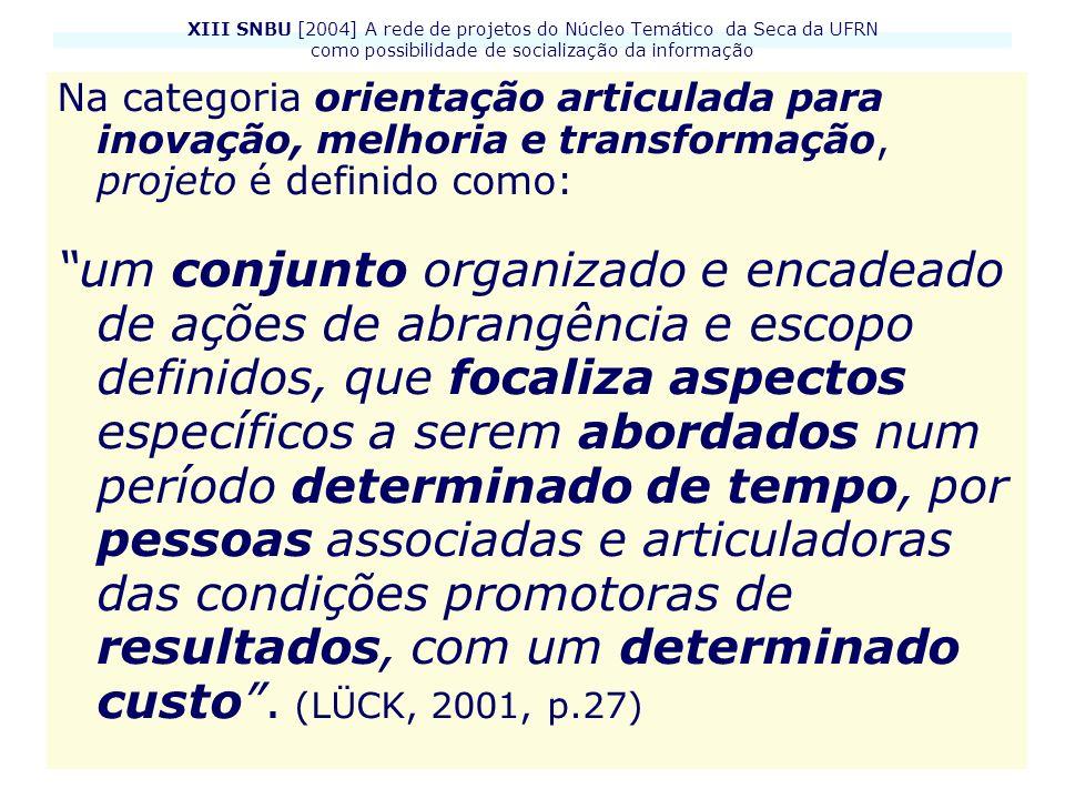 XIII SNBU [2004] A rede de projetos do Núcleo Temático da Seca da UFRN como possibilidade de socialização da informação